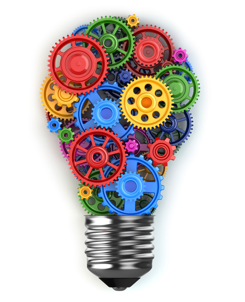 light bulb with multi color gears